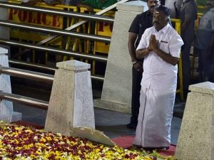 Tamil Nadu Chief Minister O Panneerselvam after end of a meditation in front of late J Jayalalithaa's burial site