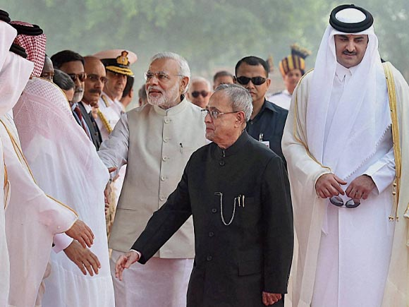 Prime Minister of India, Narendra Mod, Tamim bin Hamad Al Thani, President of India, Pranab Mukherjee