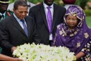 Tanzania President Jakaya Kikwete and his wife Salma paying homage at Mahatma Gandhi's memorial Rajghat