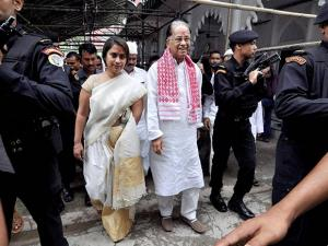 Assam Chief Minister Tarun Gogoi and his daughter coming out of Bura Masjid after offering  prayers at Ambari in Guwahati