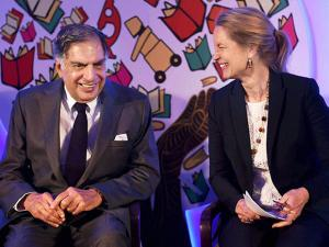 Chairman of TATA trusts Ratan Tata and President & CEO Sustainable Health care Solutions GE Health care Terri Bresenham share a light moment