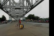 A deserted Howrah bridge after the transport workers went on a strike