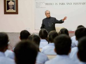 President Pranab Mukherjee teaching students