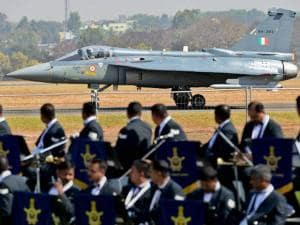 Tejas prepares to fly during the inauguration of the Aero India 2015