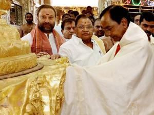 Telangana CM K Chandrasekhar Rao donating ornaments worth Rs 5 crore to Lord Venkateswara at Tirumala in Tirupati