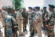 Army and police personnel during an encounter with militants who attacked a police station at Dinanagar