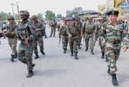 Army personnel during an encounter with militants who attacked a police station at Dinanagar
