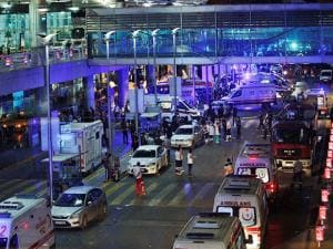 Security and rescue personnel gather outside Istanbul's Ataturk airport