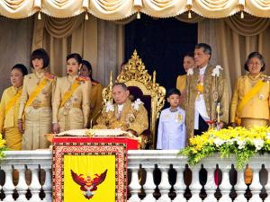 Thailand's King Bhumibol Adulyadej, seated center, and his family members