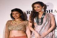Actors Malaika Arora Khan and Nimrat Kaur at the India Couture Week 2014 in New Delhi
