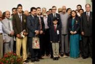 Jammu and Kashmir Governor NN Vohra and CM Omar Abdullah posing for a group photo with State awardees
