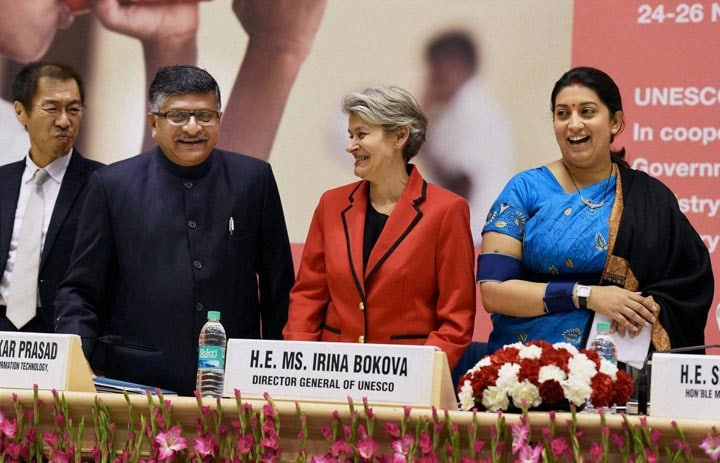 UNESCO, Smriti Irani, Irina Bokova, Ravi Shankar Prasad, International Conference Role