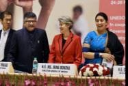 Union HRD Minister Smriti Irani is greeted by Irina Bokova Director General of UNESCO
