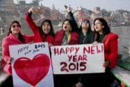 Students welcome new year on its eve in Varanasi