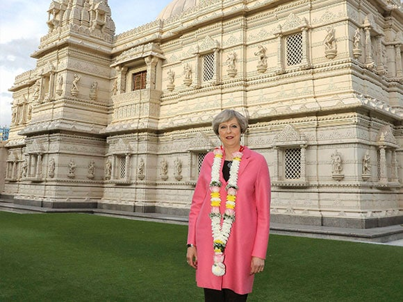 Shri Swaminarayan Mandir, Theresa May, British Prime Minister, London