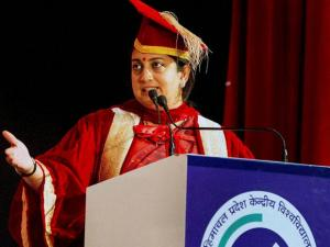 HRD Minister Smriti Irani addressing during the 3rd convocation of HP Central University