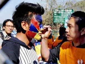 Tibetans at a protest on the 57th Anniversary of Tibetan Uprising day at Mcleodganj in Dharamsala