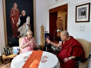 BJP leader L K Advani with Tibetan spiritual leader Dalai Lama in a meeting at his residence