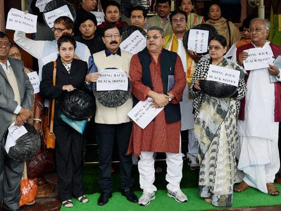 Protest, Black Money, TMC, Narendra Modi, Arun Jaitley, Mukul Roy, Parliament