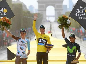 2016 Tour de France Britain's Chris Froome, second place Romain Bardet of France, third place Nairo Quintana of Colombia