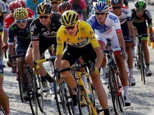 2016 Tour de France winner Chris Froome of Britain, wearing the overall leader's yellow jersey