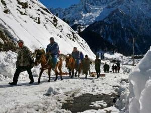 Tourists enjoying horse ride at snow coved Sonamarg