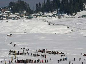 Tourist enjoying at Gulmarg ski resort in district Baramulla