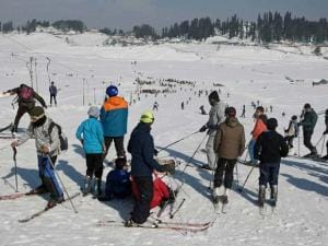 Tourists enjoy skiing at Gulmarg ski resort in district Baramulla