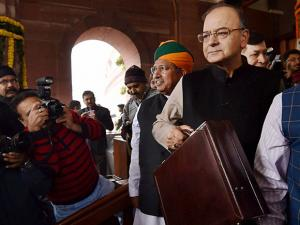 Finance Minister Arun Jaitley arrives in Parliament to present the Union budget for 2017-18, in New Delhi
