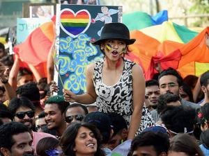 Transgenders and their supporters during a queer habba