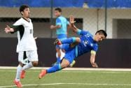 India's Skipper Sunil Chettri fall on the ground