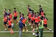 Indian Football Captain Sunil Chettri with other team mates during a practice session