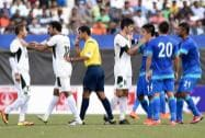 Indian football fans cheers during the U-23 friendly football match between India and Pakistan