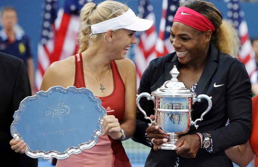 Caroline Wozniacki, Serena Williams, pose, photos, Williams, Wozniacki, championship, match, 2014 U.S. Open tennis tournament