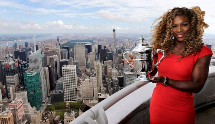Serena Williams, holds, U.S. Open tennis, women's, singles, championship trophy, visit, 103rd floor, Empire State Building