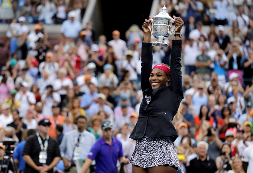 Serena Williams, United States, holds up, championship trophy, Caroline Wozniacki, Denmark