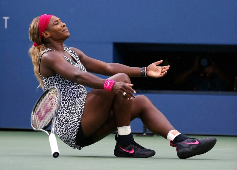 Serena Williams, reacts, defeating, Caroline Wozniacki, Denmark, championship, match, 2014, U.S. Open tennis tournament