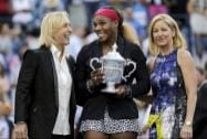 Martina Navratilova, left, and Chris Evert, right, pose for a photo with Serena Williams after Williams defeated Caroline Wozniacki, of Denmark