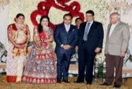 Devendra Fadnavist at the wedding reception of BJP President Amit Shah's son Jay and Rishita