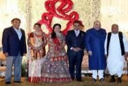 Mulayam Singh Yadav at the wedding reception of BJP President Amit Shah's son Jay and Rishita