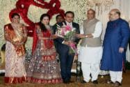 Rajnath Singh at the wedding reception of BJP President Amit Shah's son Jay and Rishita