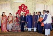 Uddhav Thackeray at the wedding reception of BJP President Amit Shah's son Jay and Rishita