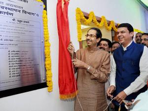 Devendra Fadnavis and Uddhav Thackeray at Mumbai Corporation's Disaster Management Department in South Mumbai