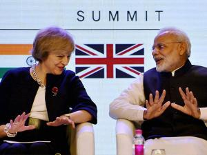 Narendra Modi with his UK counterpart Theresa May at the inauguration of India- UK Tech Summit