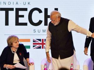 Narendra Modi with UK counterpart Theresa May at the event