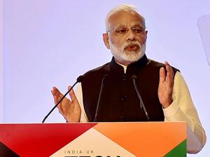 Prime Minister Narendra Modi addresses during the inauguration of India- UK Tech Summit