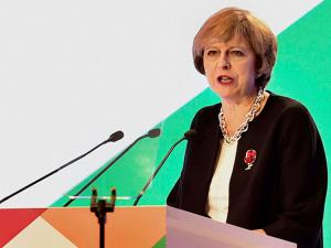 Prime Minister of UK , Theresa May addresses during the inauguration of India- UK Tech Summit