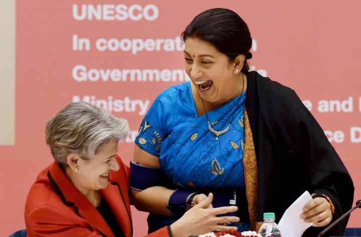 Smriti Irani, Union HRD Minister Smriti Irani, UNESCO, Director General of UNESCO, Irina Bokova