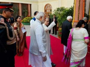 resident Pranab Mukherjee with  Vice President Hamid Ansari, Prime Minister Narendra Modi and Lok Sabha Speaker Sumitra Mahajan walks towards the Central Hall at Parliament House