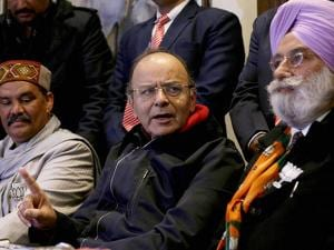 Union Finance Minister Arun Jaitley along with other BJP leaders during press conference in Amritsar